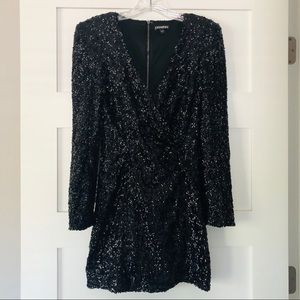 Black Sequined Mini Dress